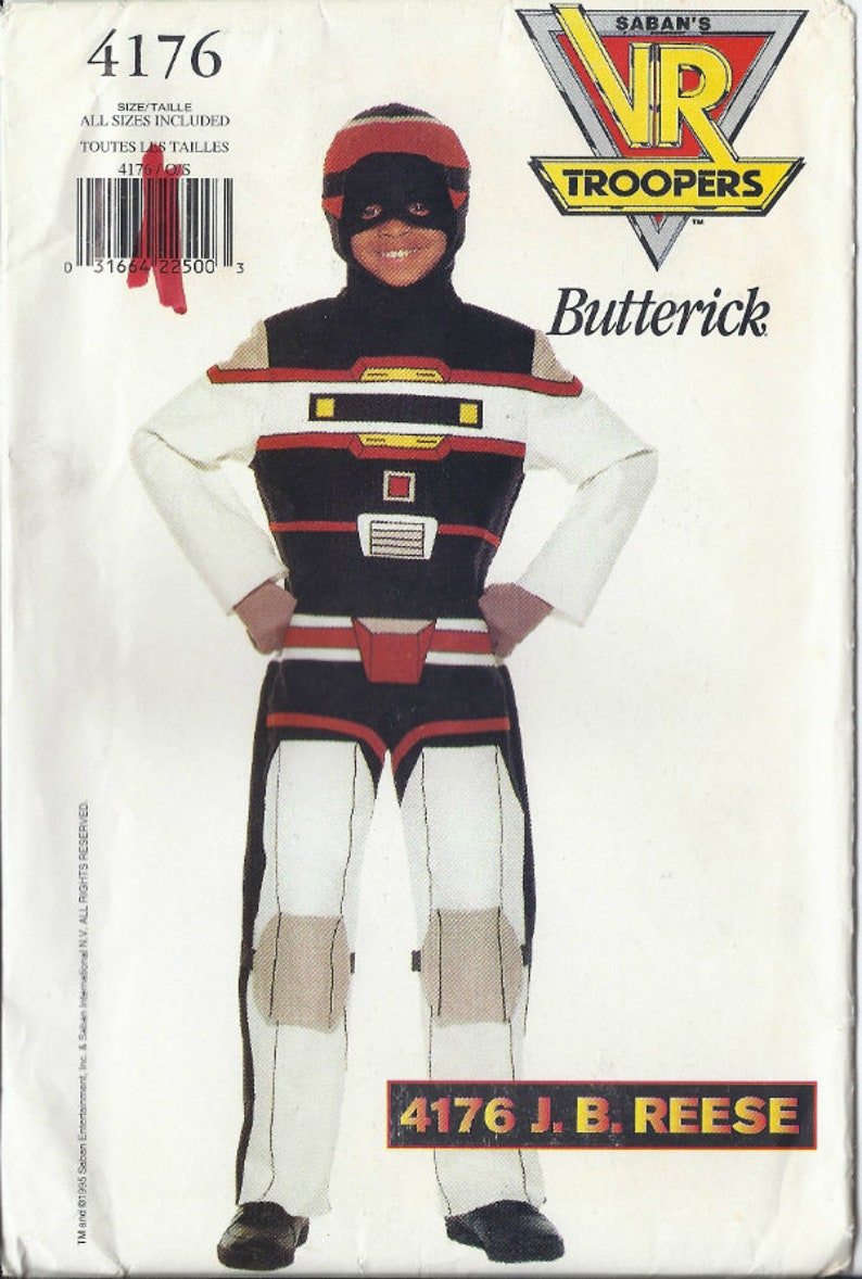J.B knee pads 1995 K1329 Reese VR Troopers costume pattern for jumpsuit hood and mask  Children/'s sizes 4-14 Butterick 4176 UNCUT /& FF