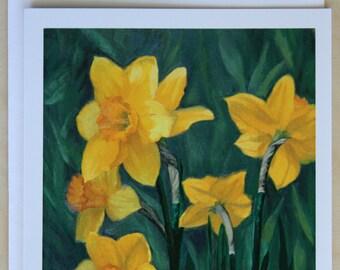 Yellow daffodils - flower card - Daffodils - blank card - greeting card