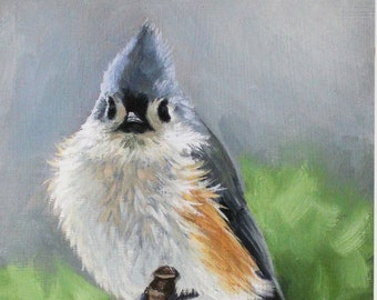 Tufted Titmouse - Titmouse - bird painting - Songbird art - Open edition print