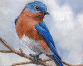 Mountain Bluebird Male Watercolor Art Print