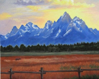 Teton Mountains - Tetons - Landscape oil painting - Mountains painting - Sunset - Open Edition Print