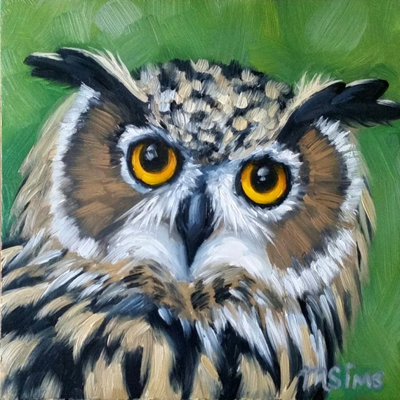 owl print great horned owl owl painting bird painting etsy