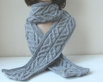 Knitting Pattern Feather Scarf Cable Knit Scarf Tutorial Etsy