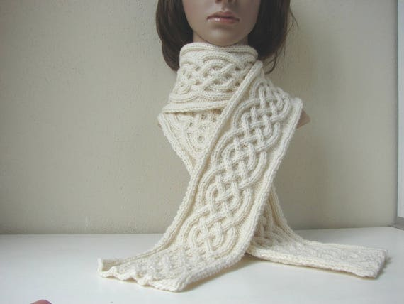 Knitting pattern scarf Celtic braid scarf Irish cable knit cable ...