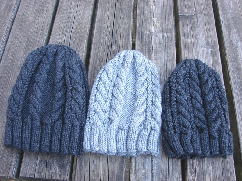 3ea0f7bb8f513d Cable hat knitting pattern CARA winter beanie 5 sizes men cap | Etsy