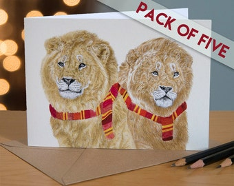 Winter lions. Blank greeting cards. Pack of five.