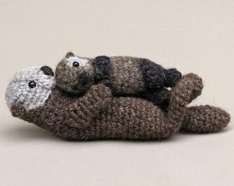 Realistic crochet sea otter and pup amigurumi pattern