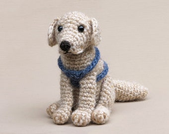 Golden Boy, realistic crochet golden retriever dog amigurumi pattern