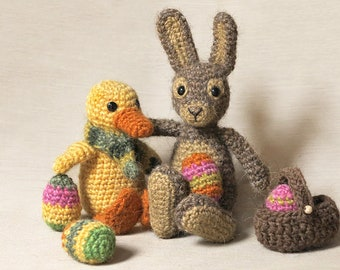 Spring & Easter pack - Crochet rabbit and duckling patterns amigurumi
