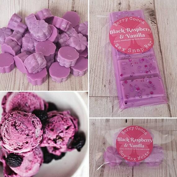 Black Vanilla Raspberry Soy Wax Melt Bar Chunks