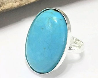 Sterling Silver Turquoise Stone Ring, Solid 925 Silver Hallmarked, Natural Turquoise Oval Statement Ring, Adjustable, Boho Turquoise Ring