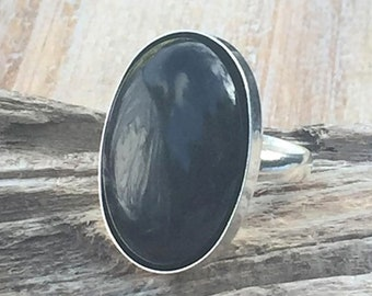 Gothic Black Onyx Ring, Sterling Silver Natural Black Onyx Gemstone Ring, Solid 925 Silver Hallmarked, Oval Statement Ring, Adjustable Ring