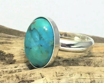 Sterling Silver Turquoise Stone Ring, Solid 925 Silver Hallmarked, Natural Turquoise Small Oval Ring, Adjustable, Boho Statement Ring
