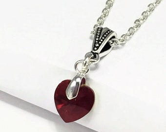 July Birthstone Necklace, with Swarovski Ruby Heart Crystal, Ruby Crystal Necklace, Bridesmaid Necklace Gift