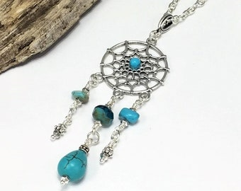 Silver Boho Dream Catcher Necklace with Natural Turquoise Gemstones, Silver Dreamcatcher Pendant Charm, Long Bohemian Silver Necklace