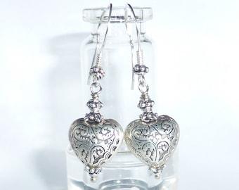 Sterling Silver Heart Earrings, Silver Boho Earrings, Silver Heart Earrings, Bohemian Earrings, Handmade Jewellery