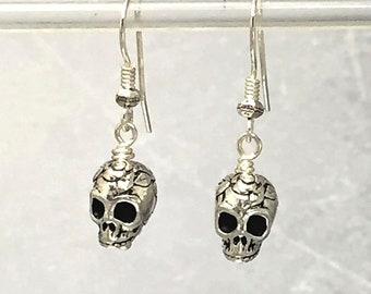 Silver Skull Earrings, Sterling Silver Hooks, Rose Skull Beads, Halloween Earrings, Spooky Earrings, Halloween Costume, Vampire Earrings
