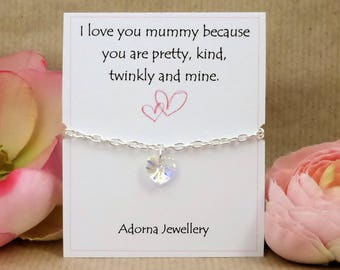 Personalised Gift for Mummy, Swarovski Crystal Heart Bracelet, I Love You Mummy, Handmade Gift and Card for Mommy, Mammy