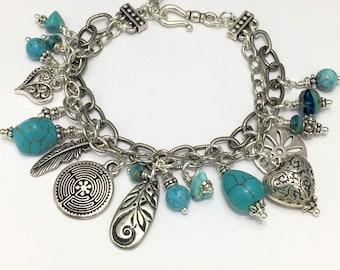 Boho Natural Turquoise Silver Charm Bracelet, Turquoise Gemstones, Silver Beaded Bracelet, Stacking Bracelet, Bohemian Turquoise Bracelet