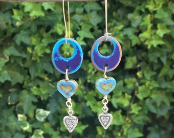 Blue Greek Ceramic Earrings, Limited Edition, Geometric, Blue Picasso Hearts, Contemporary, Silver Heart Drops, Statement Earrings, Artisan