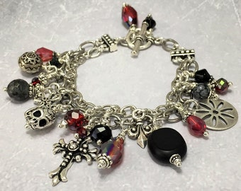 Gothic Skull Bracelet, Silver Cross Bracelet, Vampire Bracelet, Vintage Romantic Gothic, Goth Bracelet, Adult Halloween Costume, Accessories