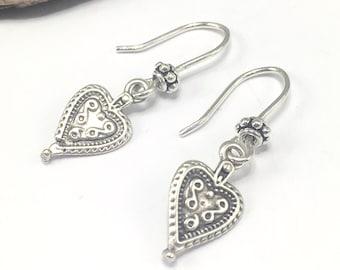 Silver Heart Earrings, Sterling Silver Hooks, Tiny Boho Bohemian Heart Drop Charms, Dainty Earrings, Handmade Earrings, Nickel Free