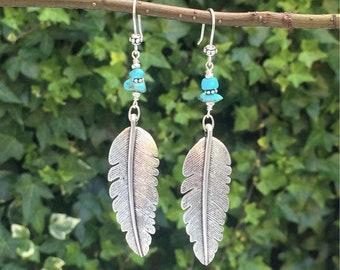 Natural Turquoise Silver Feather Earrings, Boho Artisan Earrings, Turquoise Gemstones, Silver Feather Pendants, Bohemian Earrings