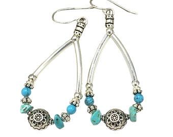 Silver Boho Natural Turquoise Earrings, Turquoise Gemstones, Silver Teardrop Earrings, Bohemian Earrings, Silver Ethnic Earrings
