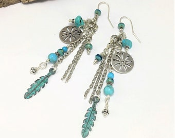 Sterling Silver Natural Turquoise Boho Earrings, Handmade Limited Edition, Multi Strand Feather Earrings, Turquoise Gemstones, Long Earrings