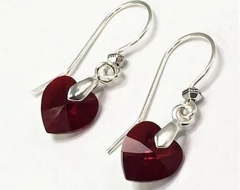 July Swarovski Birthstone Sterling Silver Earrings, with Swarovski Ruby Crystal Hearts, July Birthday Gift, Bridesmaid Earrings Gift