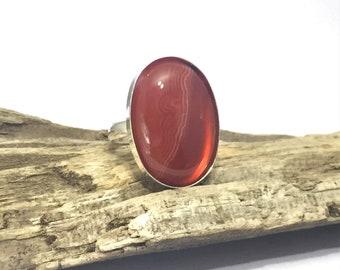 Orange Agate Silver Ring, Solid 925 Silver Hallmarked, Natural Orange Agate Oval Statement Ring, Adjustable, Boho Orange Agate Ring