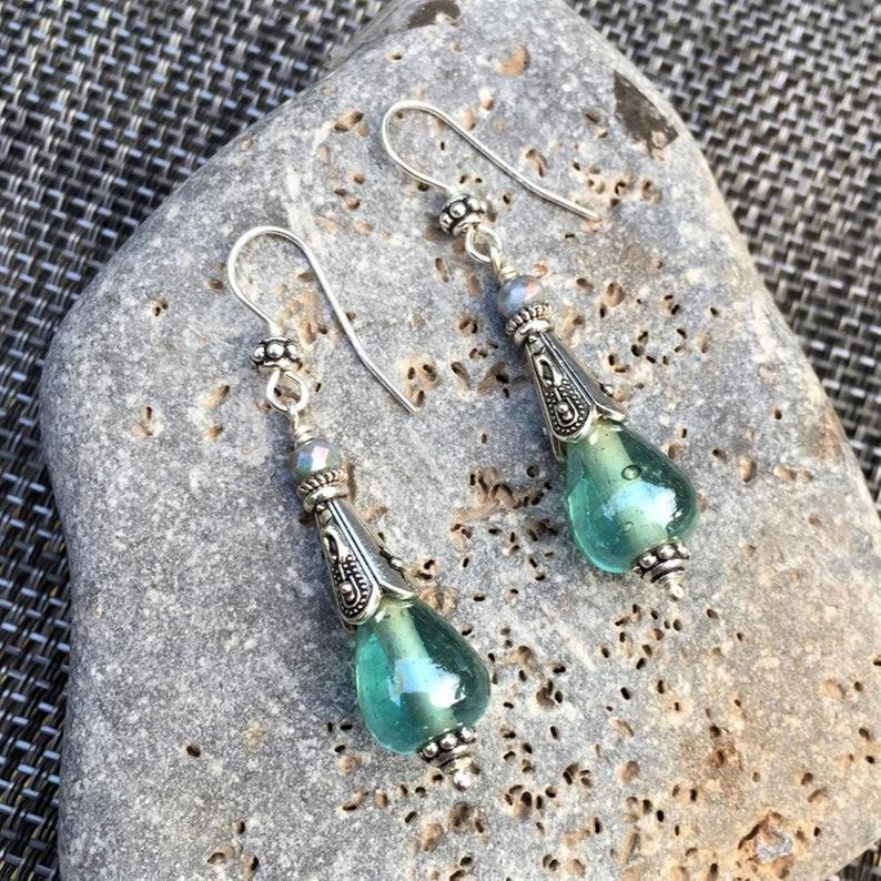 LAST PAIR Sea Green Boho Earrings Sterling Silver Mint Green image 0
