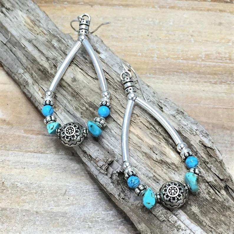 Silver Boho Natural Turquoise Earrings Turquoise Gemstones image 0