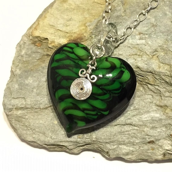 87e1200172f1e Handmade Heart Necklace, ONLY TWO MADE, Emerald Necklace, Murano Necklace,  Green Necklace, Statement Necklace, Handmade Jewellery