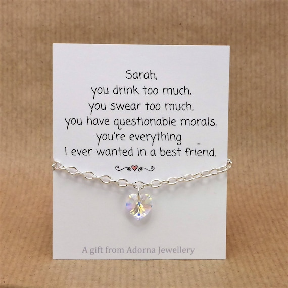 Personalised Best Friend Gift Funny Quote Card Swarovski