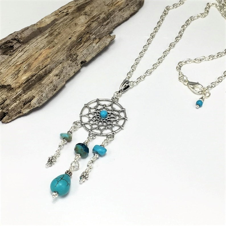 Silver Boho Dream Catcher Necklace with Natural Turquoise image 0