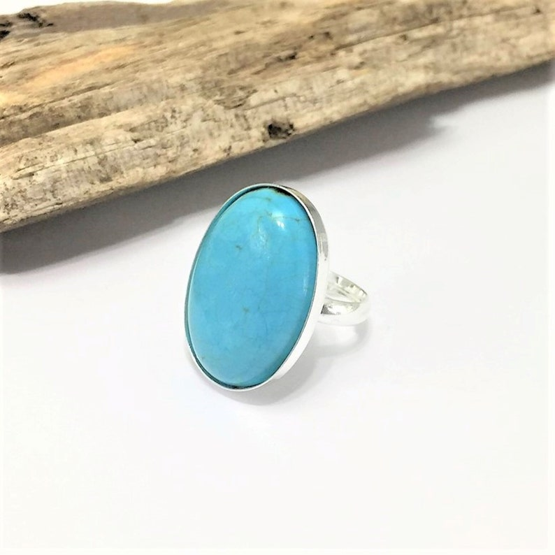 Sterling Silver Turquoise Stone Ring Solid 925 Silver image 0
