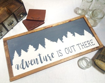 Adventure Is Out There Framed Wooden Sign -- Rustic Wall Decor -- Cabin Decor -- Adventure Awaits -- Adventure Time -- Nursery Decor