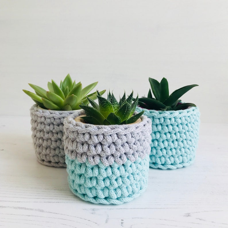Small crochet planter set three bespoke succulent pot cover image 0