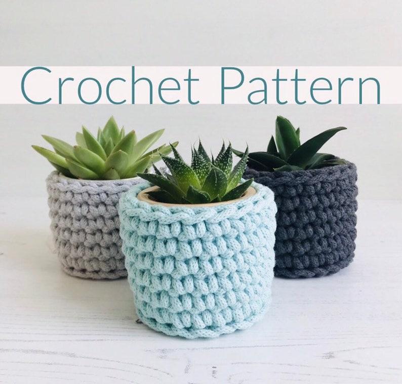 Easy crochet pattern plant pot cosy instant download pdf image 0