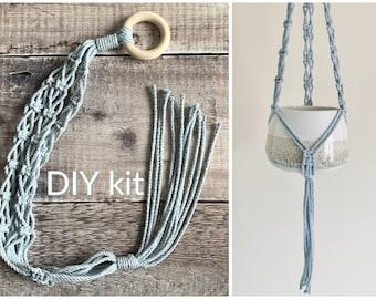 DIY macrame plant hanger kit, craft kit for beginners, hanging planter, plantlover gift, home decor, recycled cotton, custom colour