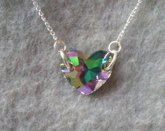 """Swarovski Crystal Heart Necklace, Small iridescent/clear crystal heart, sterling silver chain 22"""", gift for girl or woman, Valentines gift"""