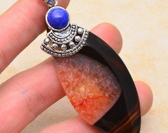 Agate Druzy and Lapis silver plated pendant (#J1221)