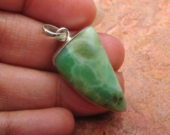 "Natural Chrysoprase Sterling Silver  1.5"" pendant  (#J645)"