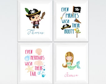 Charmant Pirate And Mermaid Personalized Kids Bathroom Printable Art Set, Custom Kids  Bathroom Wall Art, Kids Bathroom Decor Download