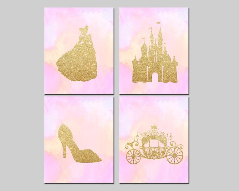 Cinderella gold princess Disney inspired printable art set playroom wall decor Download castle /& carriage printable watercolor nursery art