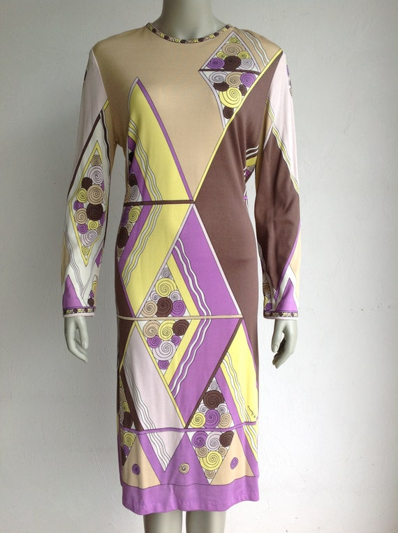 Vintage Paganne  Geometric Print Dress with Signat