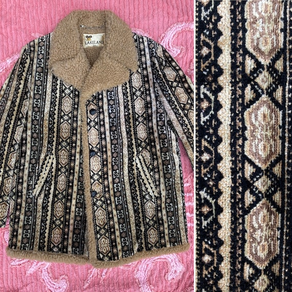 Lakeland Tapestry Carpet Coat Sz 44 Fleece Lined R