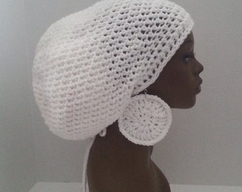 dea8392b097 White Crochet Tam with Drawstring and Earrings