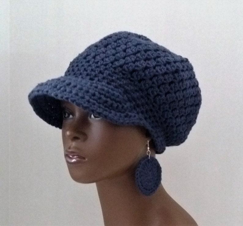 69426bd433898 Crochet Cotton Newsboy Hat with Earrings Navy Blue Newsboy